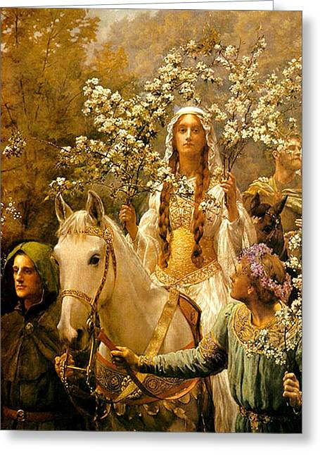 Guinevere Paintings Greeting Cards - The Maying of Queen Guinevere Greeting Card by Philip Ralley