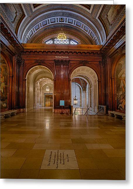 The Mcgraw Rotunda At The New York Public Library Greeting Card by Susan Candelario