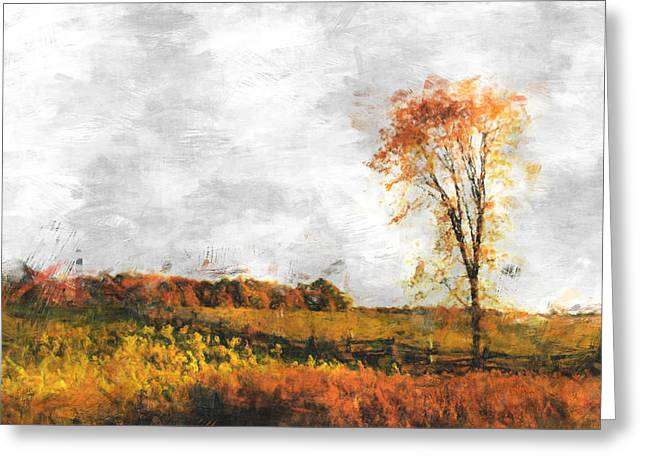 Autumn Digital Art Greeting Cards - The Meadow tree - pt01 Greeting Card by Variance Collections