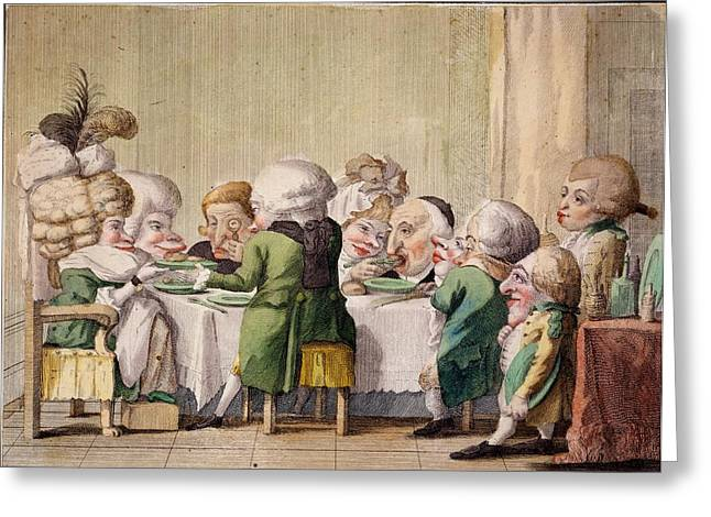The Meal, C.1790 Greeting Card by Carlo Lasinio