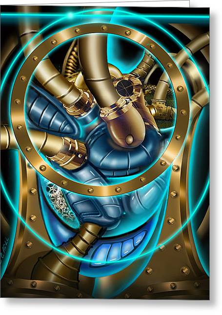 Analog Paintings Greeting Cards - The Mechanical Heart Greeting Card by James Christopher Hill