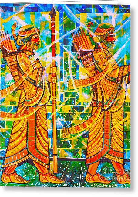 Shushing Greeting Cards - The Medes at Susa Greeting Card by Dariush Alipanah- Jahroudi