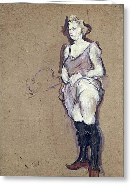 The Medical Inspection Blonde Prostitute, 1894 Oil On Card Greeting Card by Henri de Toulouse-Lautrec
