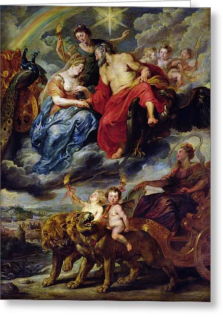 King Greeting Cards - The Medici Cycle Meeting Of Henri Iv 1553-1610 And Marie De Medici 1573-1642 At Lyon On 9th Greeting Card by Peter Paul Rubens
