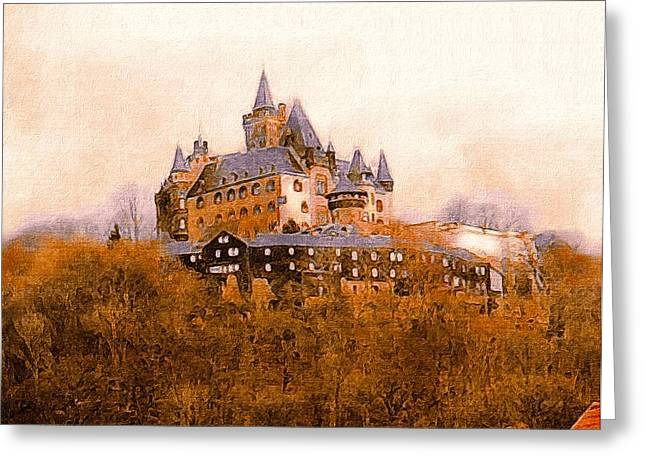 Deutschland Greeting Cards - The Medieval Castle of Wernigerode Greeting Card by Susan Maxwell Schmidt