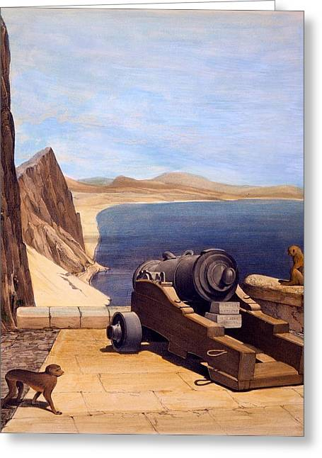 Weaponry Greeting Cards - The Mediterranean Battery, Gibraltar Greeting Card by Captain J. M. Carter