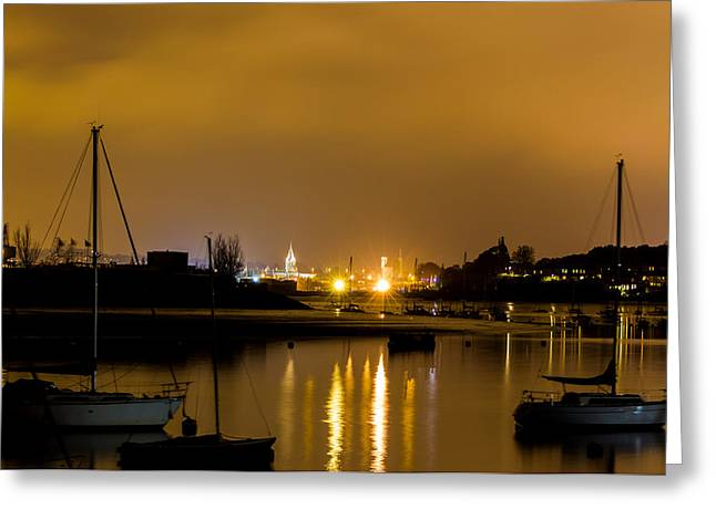 River Medway Greeting Cards - The Medway at Night Greeting Card by Ian Hufton