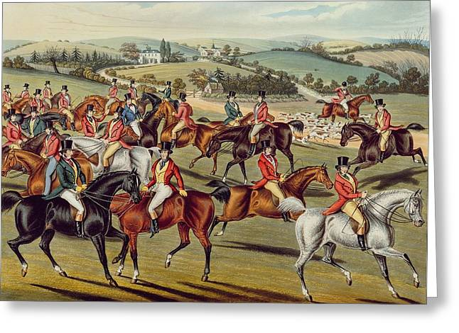 Gathering Greeting Cards - The Meet plate I from Fox Hunting Greeting Card by Charles Senior Hunt