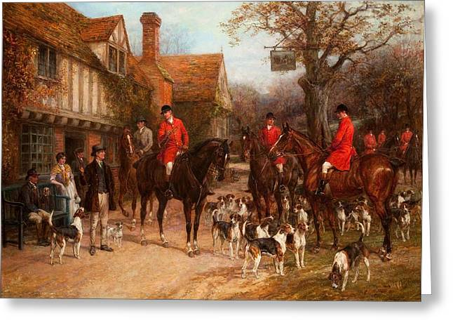 Pubs Greeting Cards - The Meet, Ye Olde Wayside Inn Greeting Card by Heywood Hardy