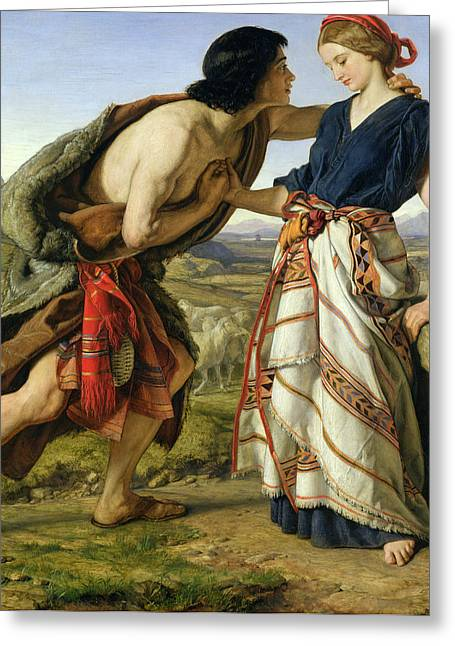 Man And Woman Greeting Cards - The Meeting of Jacob and Rachel Greeting Card by William Dyce