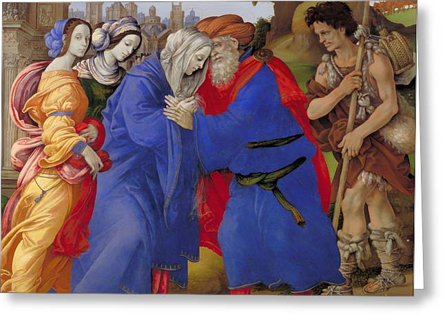 Religious Artwork Paintings Greeting Cards - The Meeting of Joachim and Anne outside the Golden Gate of Jerusalem  Greeting Card by Filippino Lippi