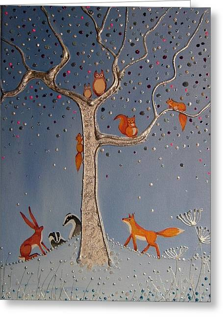 Fox Squirrel Mixed Media Greeting Cards - The meeting place Greeting Card by Angie Livingstone