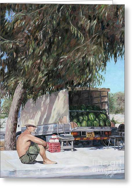 Recently Sold -  - Watermelon Greeting Cards - The Melon Seller Greeting Card by Theo Michael
