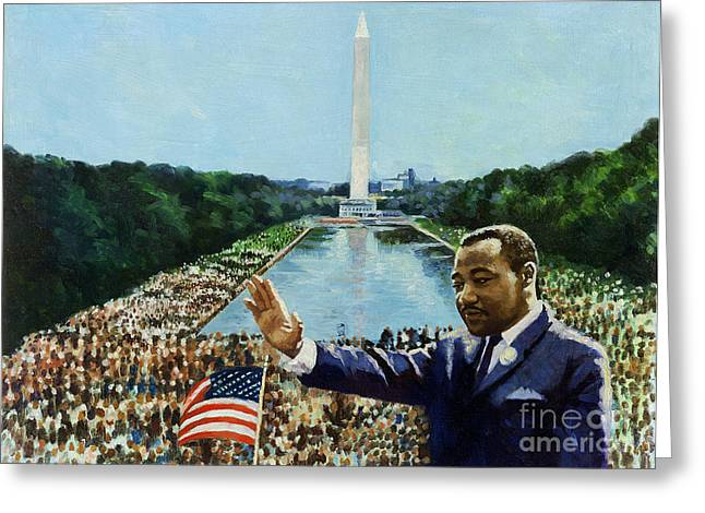 Civil Rights Paintings Greeting Cards - The Memorial Speech Greeting Card by Colin Bootman