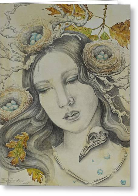 Woman In Egg Greeting Cards - The Memory of Trees Greeting Card by Sheri Howe