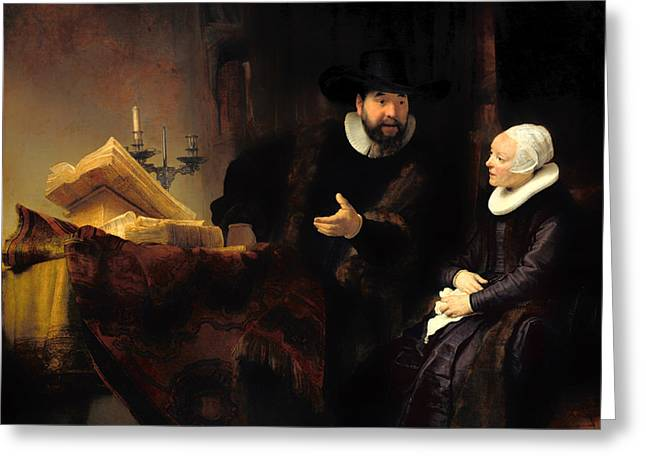 Proper Greeting Cards - The Mennonite Preacher Anslo and His Wife Greeting Card by Rembrandt