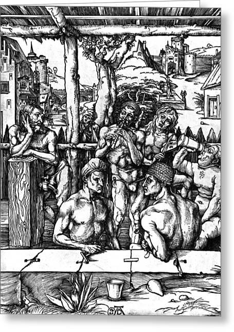 The Mens Bath Greeting Card by Albrecht Durer or Duerer