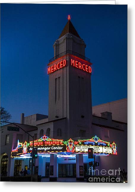 Theater Greeting Cards - The Merced Theater, Ca Greeting Card by Spencer Grant