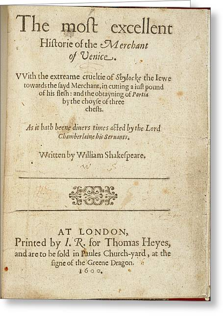 The Merchant Of Venice Greeting Card by British Library
