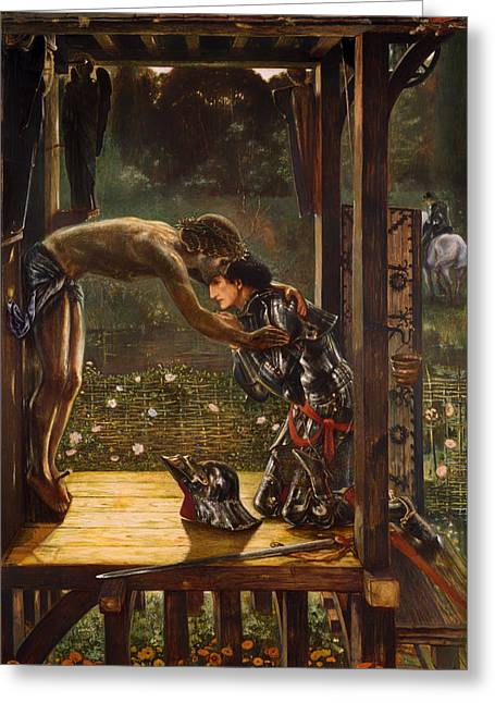 Forgiven Paintings Greeting Cards - The Merciful Knight Greeting Card by Edward Burne-Jones