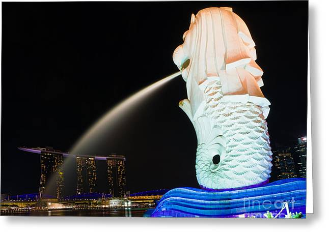Pete Reynolds Greeting Cards - The Merlion - Singapore Greeting Card by Pete Reynolds
