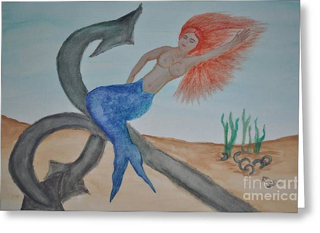 Anchor Underwater Greeting Cards - The Mermaid Greeting Card by Dennie R Gum