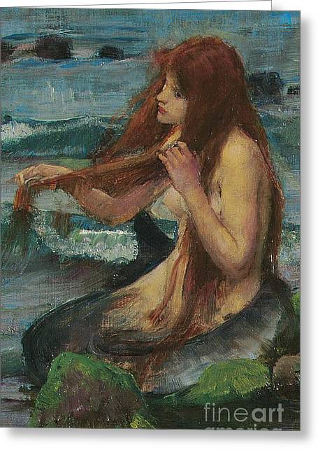 Redhead Greeting Cards - The Mermaid Greeting Card by John William Waterhouse
