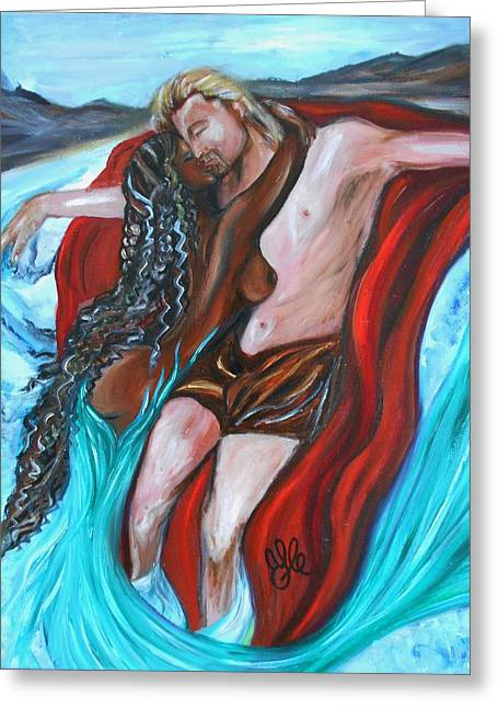 Interracial Love Greeting Cards - The Mermaid - Love Without Boundaries- Interracial Lovers Series Greeting Card by Yesi Casanova