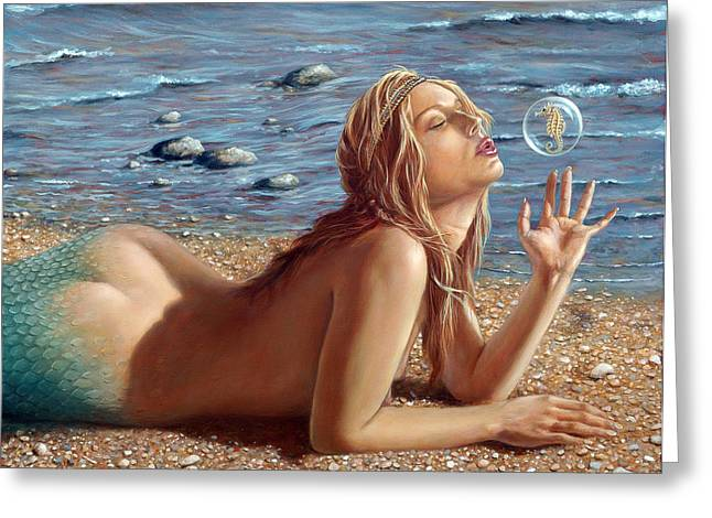 Female Paintings Greeting Cards - The Mermaids Friend Greeting Card by John Silver