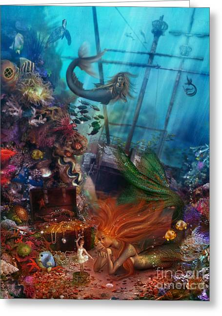 Friend Ship Greeting Cards - The Mermaids Treasure Greeting Card by Aimee Stewart