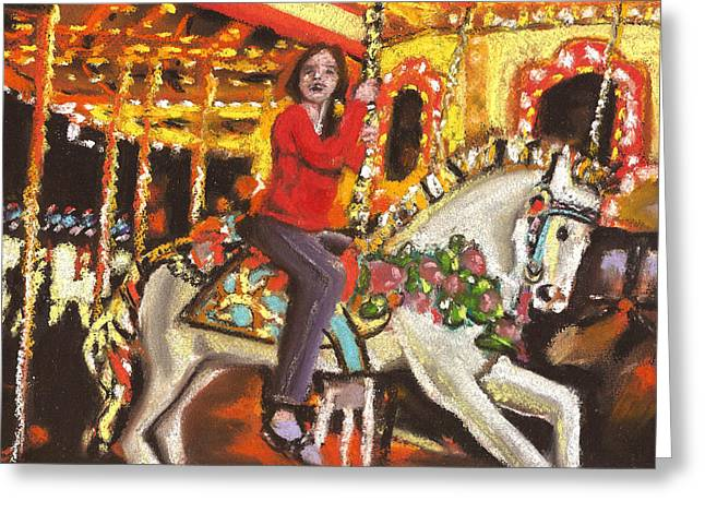 Amusements Pastels Greeting Cards - The Merry Go Round Greeting Card by Paul Mitchell