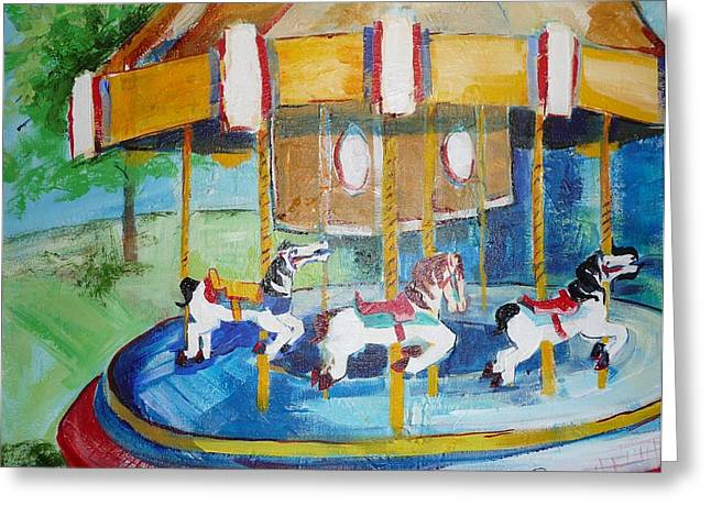 The Merry-go-round Greeting Card by Suzanne Willis