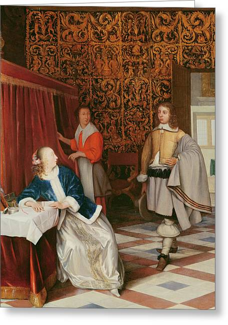 Jewellery Greeting Cards - The Message Oil On Canvas Greeting Card by Eglon Hendrick van der Neer