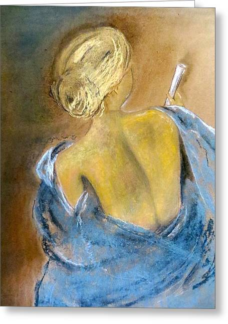 Guardian Angel Pastels Greeting Cards - The Messenger Greeting Card by C Pichura