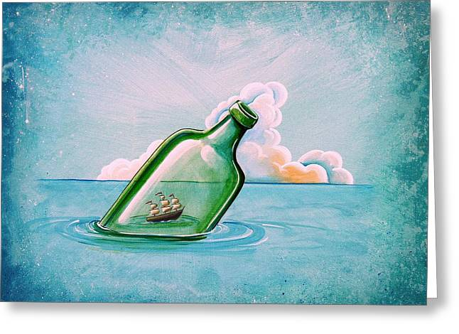 Bottle Paintings Greeting Cards - The Messenger Greeting Card by Cindy Thornton