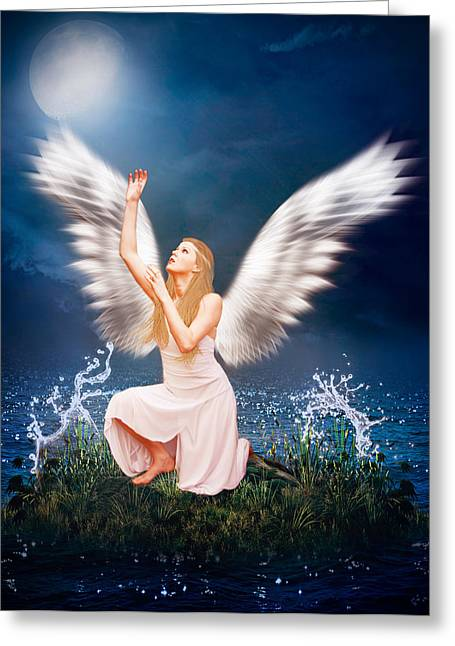 Seraphim Angel Greeting Cards - The Messenger Greeting Card by Ester  Rogers
