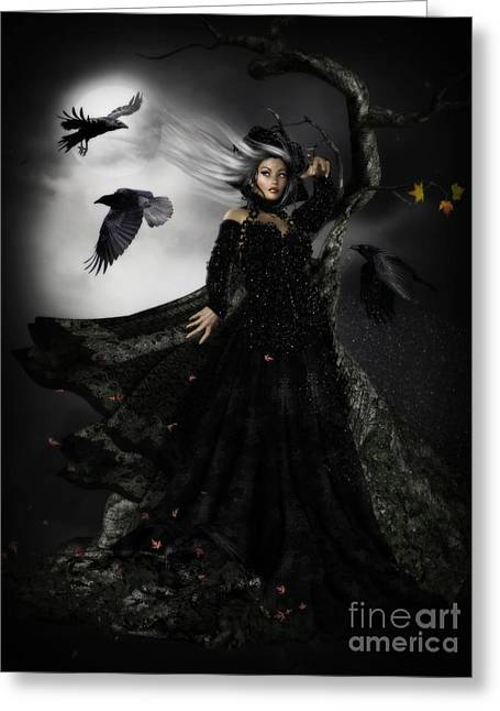 Gothic Trees Greeting Cards - The Messengers Greeting Card by Shanina Conway
