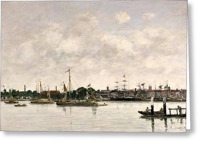 Docked Sailboats Greeting Cards - The Meuse at Dordrecht Greeting Card by Eugene Louis Boudin