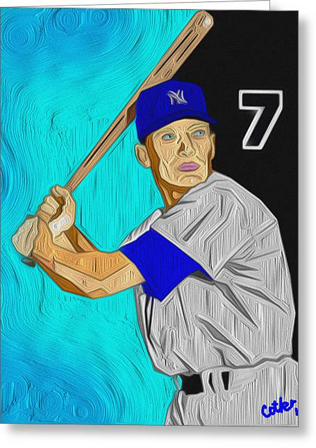 Mickey Mantle Prints Greeting Cards - The Mick Greeting Card by GR Cotler