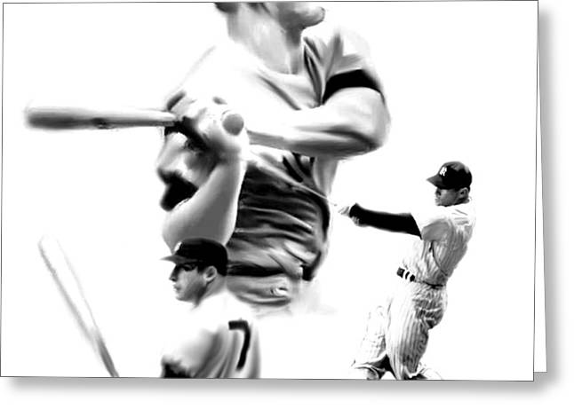 Athletes Drawings Greeting Cards - The Mick III  Mickey Mantle Greeting Card by Iconic Images Art Gallery David Pucciarelli
