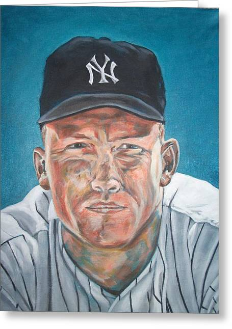 Negro Leagues Paintings Greeting Cards - The Mick Greeting Card by Paul Smutylo