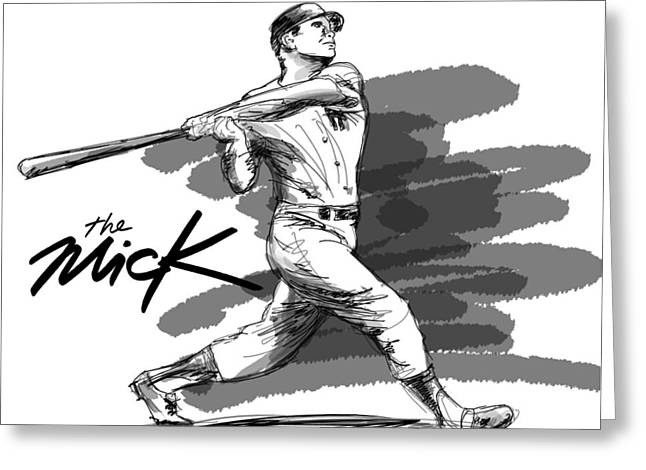 Bronx Bombers Greeting Cards - The Mick Greeting Card by Ron Regalado