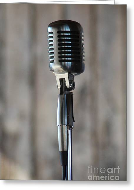 Microphone Stand Greeting Cards - The microphone is yours Greeting Card by Eric Curtin