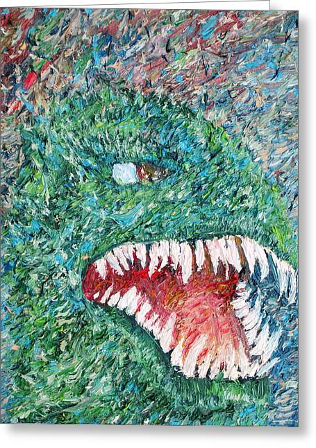T-rex Greeting Cards - The Might That Came Upon The Earth To Bless - Godzilla Portrait Greeting Card by Fabrizio Cassetta