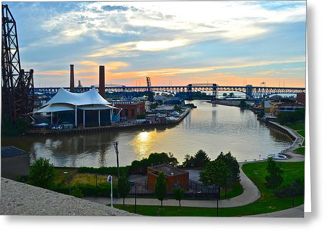 Nimbus Greeting Cards - The Mighty Cuyahoga Greeting Card by Frozen in Time Fine Art Photography