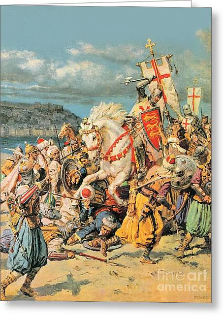Chivalry Greeting Cards - The Mighty King of Chivalry Richard the Lionheart Greeting Card by Fortunino Matania