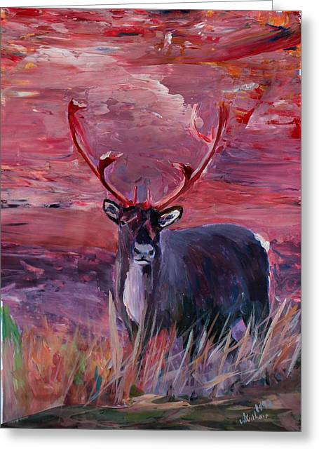 Rudolph Paintings Greeting Cards - The Mighty Moose Mongoose Reindeer Elk Rentier Caribou Greeting Card by M Bleichner