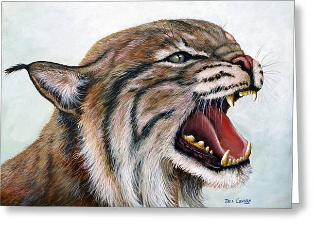 Recently Sold -  - Bobcats Greeting Cards - The Mighty Roar Greeting Card by Jeff Conway