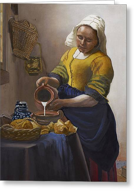 Old Pitcher Paintings Greeting Cards - The Milkmaid Greeting Card by Caroline  Stuhr
