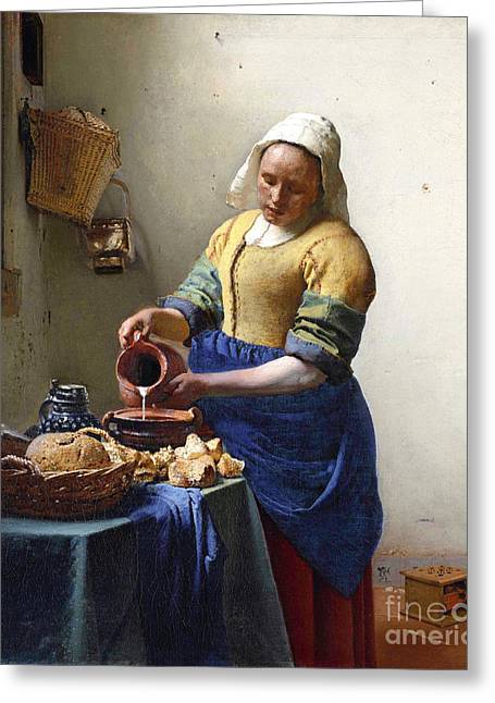 Table Greeting Cards - The Milkmaid Greeting Card by Jan Vermeer